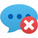 chat, comment, communication, delete, message, remove, talk icon