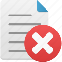 delete, document, documents, file, page, paper, text icon