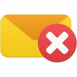 delete, email, envelope, letter, mail, message, remove icon