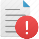 document, documents, file, files, text, warning icon