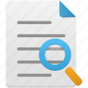 document, documents, file, files, paper, search, zoom icon