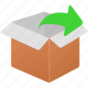 box, empty, exit, export, uncompress icon