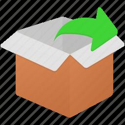 box, empty, exit, export, uncompress icon