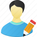 account, edit, human, male, man, pencil, people, person, profile, user, write icon
