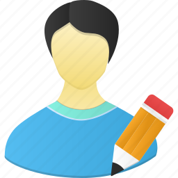 account, edit, human, male, man, pencil, people, person, profile, user, write icon
