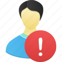 account, alert, male, man, people, person, profile, user, warning icon