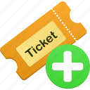 add, ticket, new, create, plus