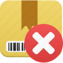 box, cancel, delete, ecommerce, gift, package, product, remove, shop, shopping, webshop icon