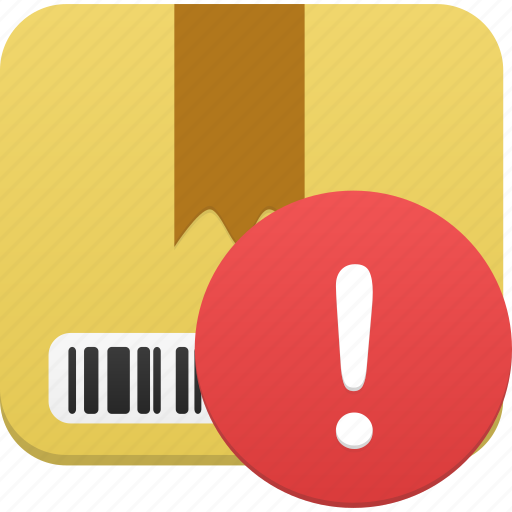 box, ecommerce, package, product, shipping, shopping, warning icon