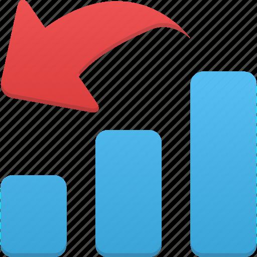 analytics, chart, decrease, down, graph, report, statistics icon