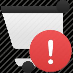 alert, cart, ecommerce, shop, shopping, webshop icon