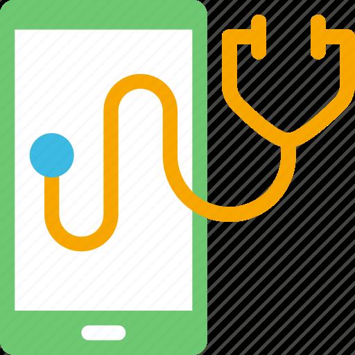 health, healthcare, mobile, phone, stethoscope icon