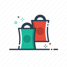 bag, buy, cart, colorful, commerce, delivery, ecommerce, flatolin, illustration, line, line icon, payment, sale, shopping, store icon