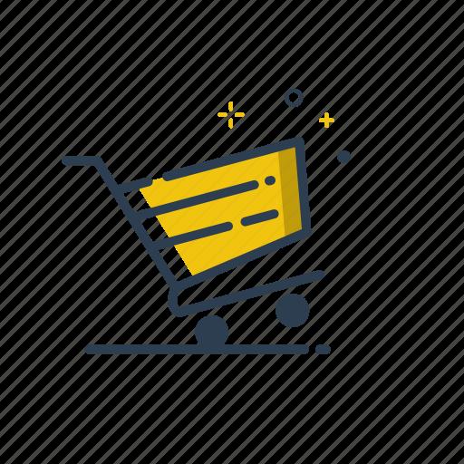 cart, flatolin, illustration, line, shopping, shopping cart, yellow icon