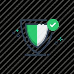 badge, flatolin, guarrantee, illustration, line, safe, shield icon