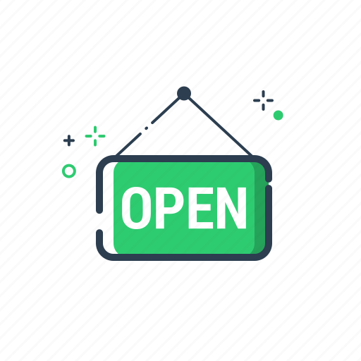 close, flatolin, good, goods, label, open, shop icon