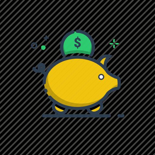 cute, flatolin, money, money box, pig, save, saving icon
