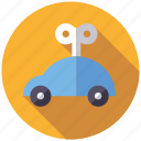 car, key, playing, toys, vehicle, windup toy icon