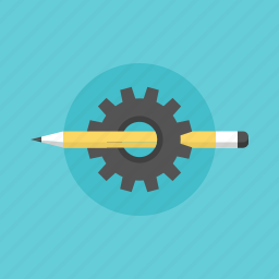 build, business, cogwheel, creative, design, develop, development, illustration, office, pencil, process, seo, sketch, studio, web icon