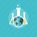 chemistry, experiment, global, globe, healthcare, illustration, laboratory, medical, medicine, planet, science, test, tube, web, world icon
