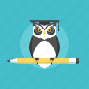 education, graduation, illustration, knowledge, learning, owl, school, smart, study, university, web, wisdom icon