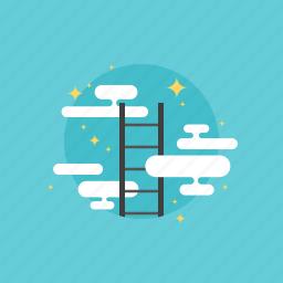 achieve, achievement, business, businessman, career, cloud, growth, human, illustration, ladder, marketing, of, peak, people, progress, reaching, success, top, win, winner icon