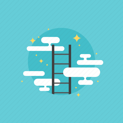 achieve, achievement, business, businessman, career, cloud, growth, human, illustration, ladder, marketing, of, peak, people, progress, reaching, success, top, win, winner icon