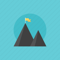 achievement, award, best, business, businessman, explore, explorer, flag, goal, growth, illustration, medal, mission, mountain, peak, personal, success, top, win, winner icon