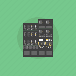 array, backup, communication, connection, data, datacenter, hardware, hosting, illustration, internet, network, rack, server, system, technology, web icon