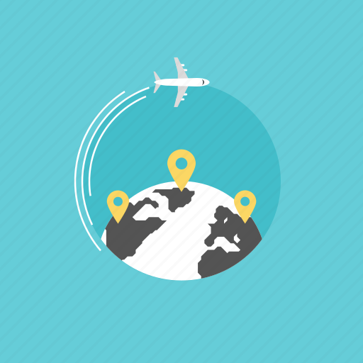 airplane, business, connection, delivery, flying, global, globe, illustration, internet, list, location, map, mark, network, pin, plane, shopping, transport, transportation, travel, web, world icon