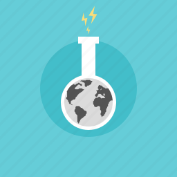 chemistry, earth, electricity, energy, experiment, glass, global, globe, illustration, lab, laboratory, planet, power, research, resource, science, test, tube, world icon
