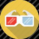 3d, cinema, film, glasses, movie, three-dimensional icon