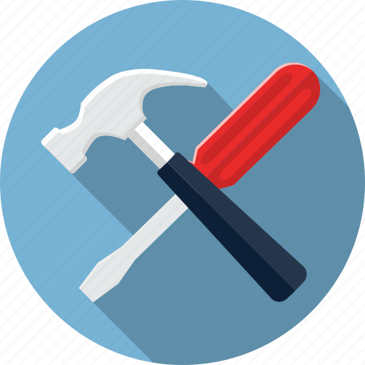 hammer, maintenance, options, screwdriver, settings, tool icon