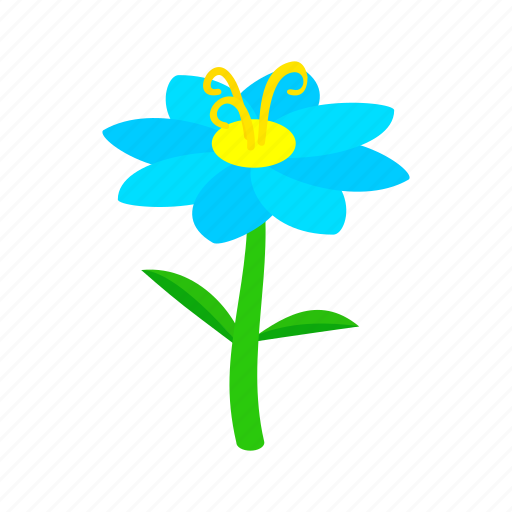 blue, floral, flower, isometric, nature, plant, spring icon