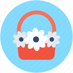 basket, bouquet, flower hamper, flowers basket, gift basket icon