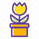 bloom, blossom, flower, flowering, plant, pot, tulip icon