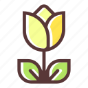 bloom, blossom, flower, flowering, flowers, plant, yellow tulip icon
