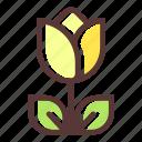 bloom, blossom, flower, flowering, flowers, plant, yellow tulip icon