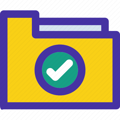 approved, archive, check, checked, document, folder icon