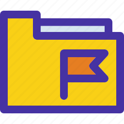 archive, document, flagged, folder, tag icon