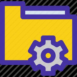 archive, document, folder, gear, setting icon