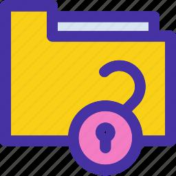 archive, document, folder, holder, lock, unlock icon