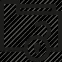 archive, document, folder, open, unlock icon