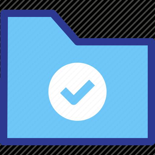 Folder, good, archive, file, check icon