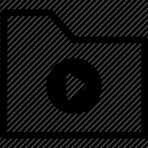 archive, file, folder, media, play icon