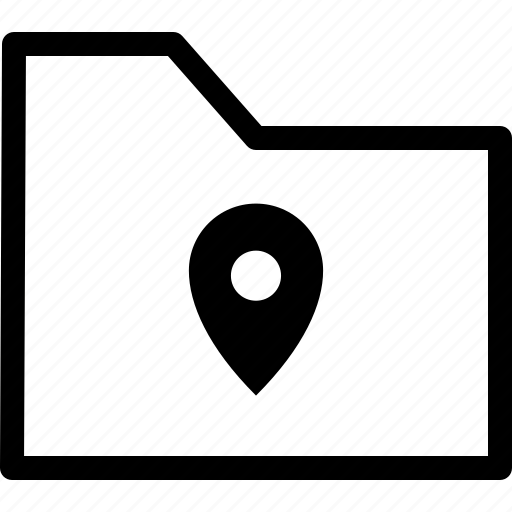 archive, file, folder, location, map, pin icon