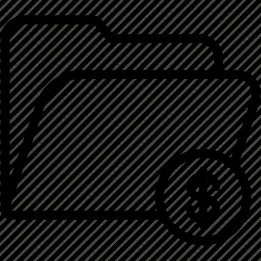 data, document, dollar, file, folder, storage icon