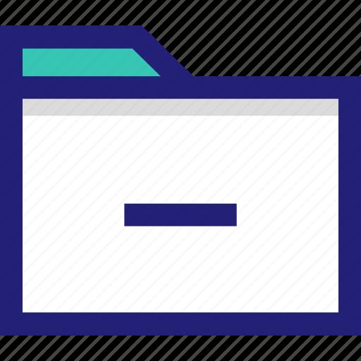 delete, file, folder, negative, subtract icon