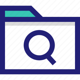 file, folder, glass, look, magnifying, search icon