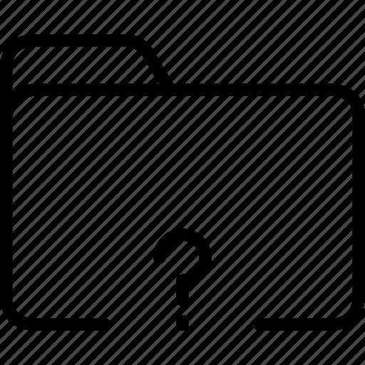 data, disk, explorer, folder, mark, question, storage icon